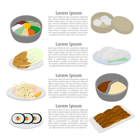 Set of korean and chinese food flat design elements. Asian street food menu. Traditional dish kimchi, dumplings, noodle and bibimbap. Peking duck, soup huo guo, pork and tofu.