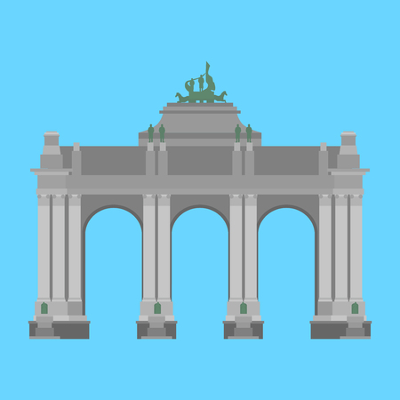 Belgium travel landmark. The triumphal arch in the park of the fiftieth anniversary in Brussels Illustration