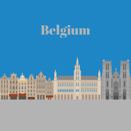 market place: City sights. Brussels architecture landmark. Belgium country flat travel elements. Famous square Grand place. Cathedral of St. Michael and St. Gudula. Illustration