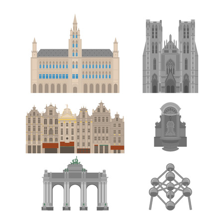 City sights. Brussels architecture landmark. Belgium country flat travel elements. Famous square Grand place with Town Hall. Cathedral of St. Michael and St. Gudula. Triumphal arch. Statue of a urinating boy. Ilustração