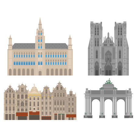 triumphal: City sights. Brussels architecture landmark. Belgium country flat travel elements. Cathedral of St. Michael and St. Gudula. Town Hall on Grand Place Grote Markt. The triumphal arch in the park of the fiftieth anniversary. Illustration
