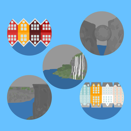 City sights Alesund and Bergen. Norway landmark. Flat travel nature elements. Pulpit Rock. Trolls Tongue. Seven sisters waterfalls and stone