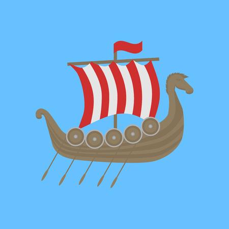 Viking ship Drakkar. Welcome to Norway poster. Historic scandinavian symbol. Illustration