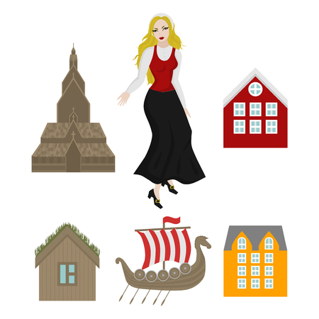 City sights icons. Norway landmark. Flat travel elements. Alesund, Bergen and Oslo. Pulpit Rock, Seven sisters waterfalls and stone. Viking ship, church. Girl in Traditional Clothes.