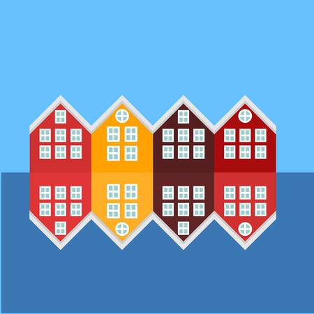 Bergen Stadt Sehenswürdigkeiten Symbole. Norwegen-Markstein. Ansicht von historischen Gebäuden. Hölzerne bunte Gebäude. Vektorgrafik