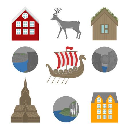 City sights icons. Norway landmark. Flat travel elements. Alesund, Bergen and Oslo. Pulpit Rock, Seven sisters waterfalls and stone Kjeragbolten. Viking ship Drakkar. Heddal Stave church