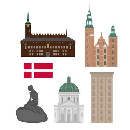 デンマークは、フラット スタイルのランドマーク アイコンのセット。コペンハーゲン市内観光。デンマークの建築設計デザイン要素