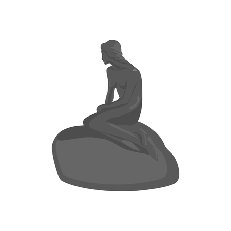 Little mermaid statue in Copenhagen Denmark flat. Illustration