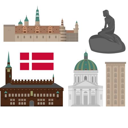 Denemarken set landmark pictogrammen in vlakke stijl. Kopenhagen bezienswaardigheden. Deense architectuurontwerpelementen Stock Illustratie