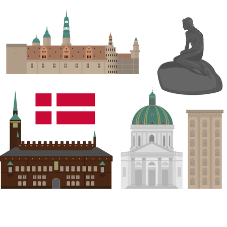 Denmark set of landmark icons in flat style. Copenhagen City sights. Danish architecture design elements Ilustrace