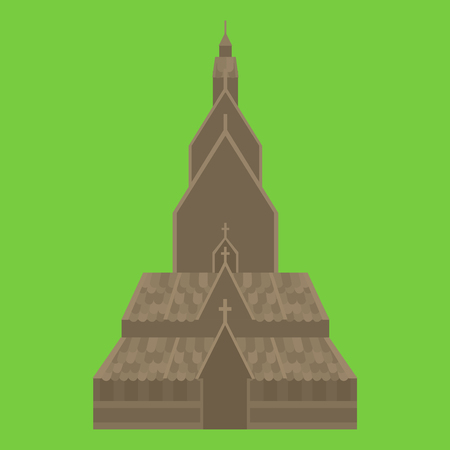 Welcome to Norway. Old traditional norwegian Heddal Stave church isolated icon. Imagens - 79661146