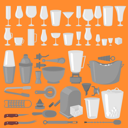 collins: Bar Glassware Cocktails, Beer and Wine Glasses. Flat Barman Tools. Bartender equipment. Isolated instrument icon