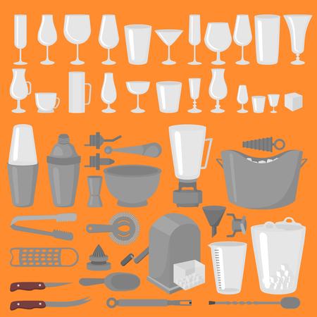 Bar Glaswerk Cocktails, Bier en Wijnglazen. Flat Barman Tools. Barman apparatuur. Geïsoleerd instrumentpictogram Stock Illustratie