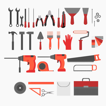 roller: Flat repair and construction working tools icon set. Industrial Instrument isolated.