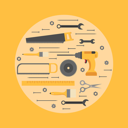 Flat repair and construction working tools icon set. Industrial Instrument isolated.