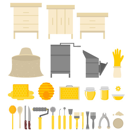 Flat design elements of Beekeeping and apiculture. Beekeeper Tools and equipment set. Apiary Instrument isolated. Beehive and Honeycomb. Honey in jar Çizim