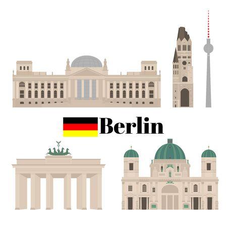 Flaches Gebäude von Berlin, Reise-Symbol-Wahrzeichen in Deutschland. Stadtarchitektur