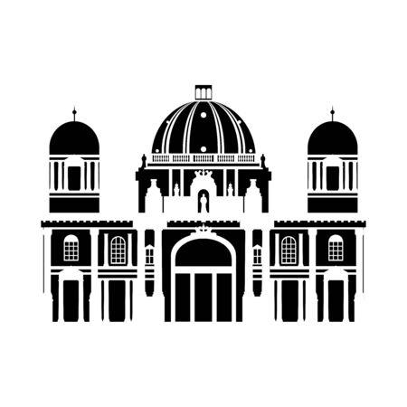Schwarz-Weiß-Gebäude von Berlin, Reise-Symbol Wahrzeichen in Deutschland. Stadtarchitektur Vektorgrafik