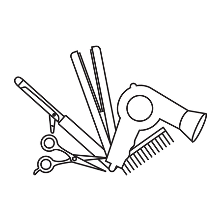 Flat design elements of hairdresser. Set with beauty haircut accessories and equipment. Haircut salon Instrument isolated. Scissors, brushes and devices.