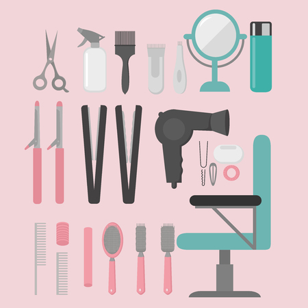 woman mirror: Flat design elements of hairdresser. Set with beauty haircut accessories and equipment. Haircut salon Instrument isolated. Scissors, brushes and devices Illustration