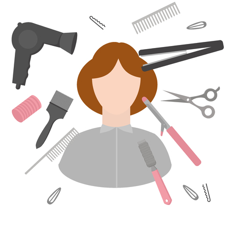 Flat design elements of hairdresser. Set with beauty haircut accessories and equipment. Haircut salon Instrument isolated with woman. Scissors, brushes and devices.