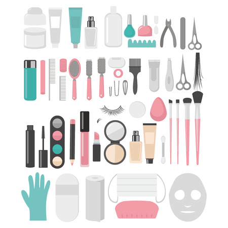 Flat design elements of cosmetology, hairdressing, makeup and manicure. Spa Tools and equipment set. Cosmetic Instrument isolated. Scissors, brushes and devices