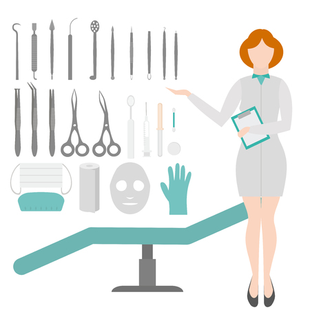 Beauty Salon. Dermatologist tools. Equipment loops, extractors and syringe . Dermatology and cosmetology concept. Cosmetic Instrument isolated Illustration