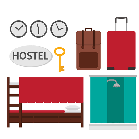 bunkbed: Economy Hostel . Budget hotel dormitory room interior, bunk bed, shared bathroom and common areas
