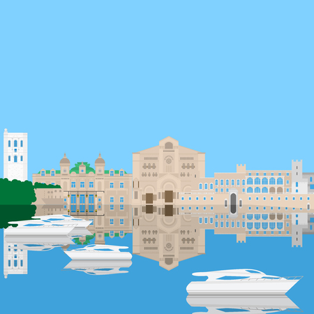 Flat building of Monaco country, travel icon landmarks in Monte Carlo. City architecture. World travel vacation sightseeing European collection Illustration