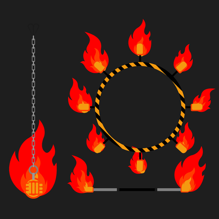 hula hoop: Flat design elements of fire show. Set with accessories and equipment. Flame circus Instrument isolated. devices. Fans, stuff and poi.