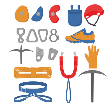 Flache Designelemente des Kletterers. Set mit Zubehör und Ausrüstung. Wanderer Instrument isoliert. Geräte. Tücher, Schutz, Seile und Karabiner