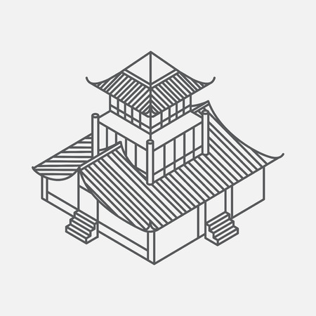 Architecture element in Oriental style. Outline Isometric Pagoda house. Chinese and Japanese landmark.