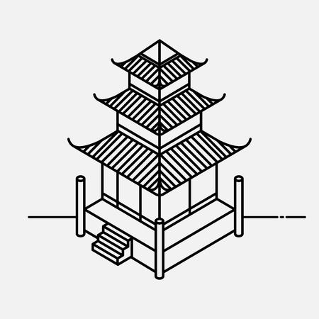 オリエンタル スタイルのアーキテクチャ要素です。概要等尺性塔の家。中国語と日本語のランドマーク。 写真素材 - 90966244
