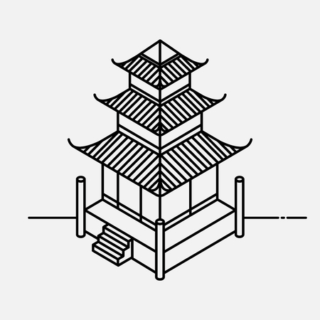 Architecture element in Oriental style. Outline Isometric Pagoda house. Chinese and Japanese landmark. Illustration