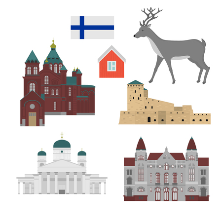 Flat building of Finland country, travel icon landmark . Helsinki City architecture. World European travel vacation sightseeing. Illustration