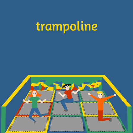 Isolated trampoline set for children and adults for fun. Fitness jumping activity realistic icon. Gymnastic sport