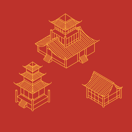 A set of architectural elements in Oriental style. Outline Isometric Pagoda house. Chinese and japanese landmark. Stock Photo