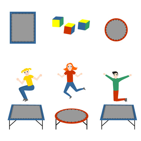 Isolated trampoline set for children and adults for fun. Fitness jumping activity realistic icon. Gymnastic sport.