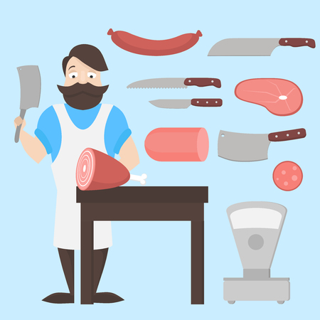 Flat butcher shop design elements and icons. Meat products. Man character