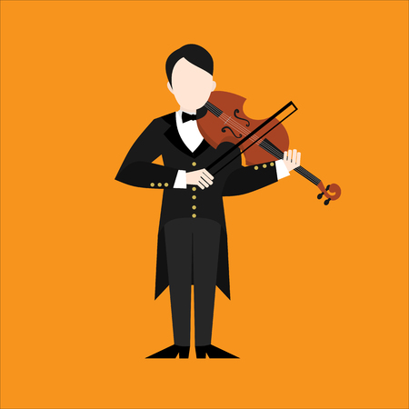 Flat violinist man character playing music. Musician playing on musical instruments.