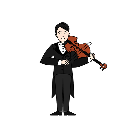 Outline Violinist man character playing music with color vector illustration  イラスト・ベクター素材