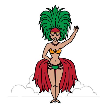 Outline cabaret singer brazilian showgirl. Colorful carnival parade Illusztráció