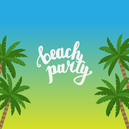 Summer hand drawn Lettering, holiday, travel and beach vacation calligraphy phrase Illustration
