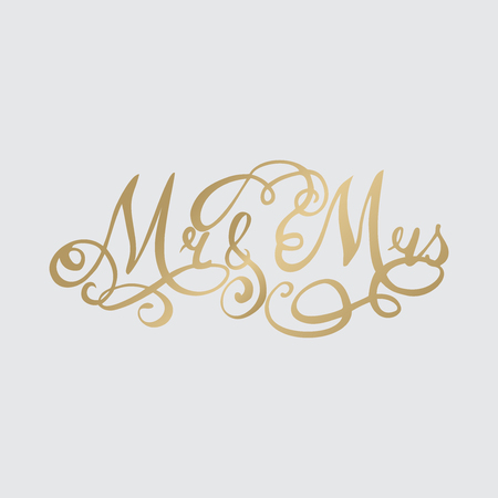 Wedding hand drawn Lettering, calligraphy phrase mr and ms Illustration