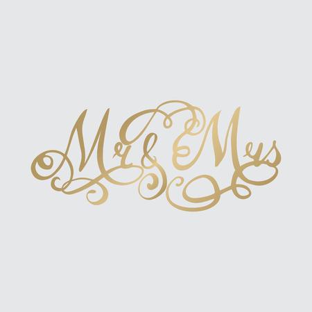 Wedding hand drawn Lettering, calligraphy phrase mr and ms Ilustração