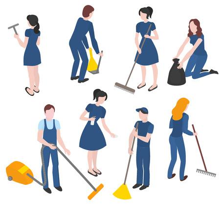 Conjunto isométrico del personal de la empresa de limpieza con el equipo. Limpieza y limpieza Ilustración de vector