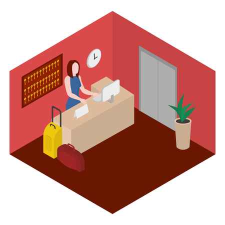 Check into a hotel. Reception with desk. Isometric administrator in lobby. Иллюстрация