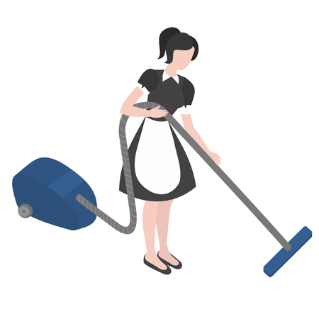 Cleanup and housekeeping set. Isometric maid in uniform. Cleaning company staff occupation. Housework and household. Ilustración de vector