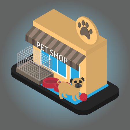 Isometric Online Pet shop with equipment. Smartphone with pet consultant service support. Mobile Veterinary phone app.