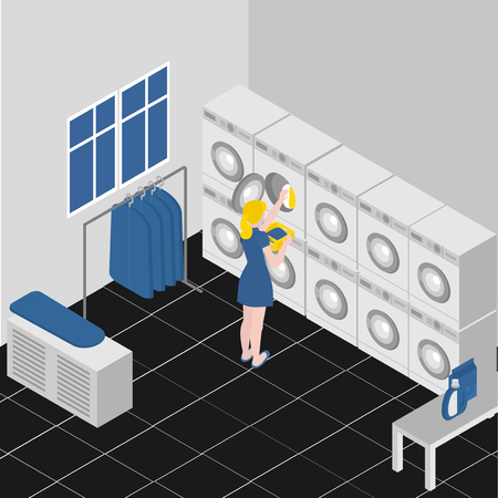 Isometric service coin laundry interior with equipment washing and ironing machines. Cleaning service company. Housework and household Иллюстрация